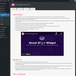 Page screenshot: Social Slider Feeds → About