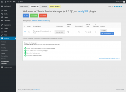 Page screenshot: Settings → Posts Footer Manager