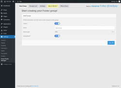 Page screenshot: Settings → Posts Footer Manager → New Group