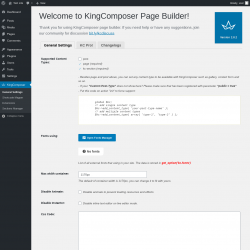 Page screenshot: King Composer WP ‹ Test site — WordPress