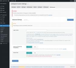 Page screenshot: LiteSpeed Cache → Cache → Advanced