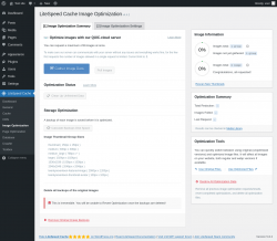 Page screenshot: LiteSpeed Cache → Image Optimization