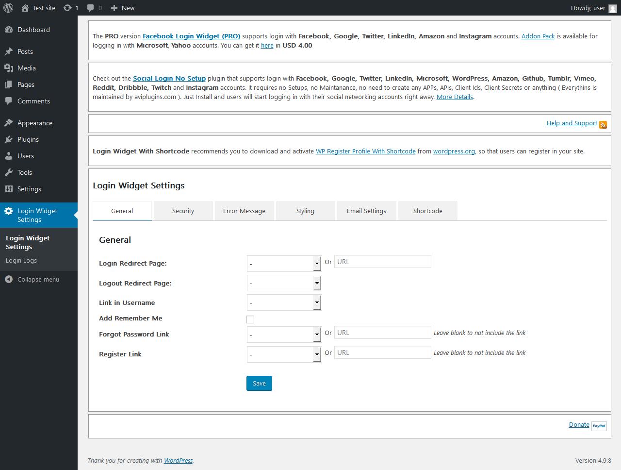 Report - Login Widget With Shortcode 5 8 0 - PluginTests com