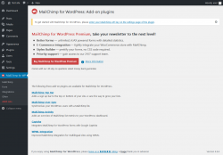 Page screenshot: MailChimp for WP → Add-ons