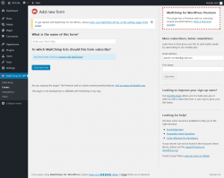 Page screenshot: MailChimp for WP → Forms
