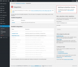 Page screenshot: MailChimp for WP → Integrations