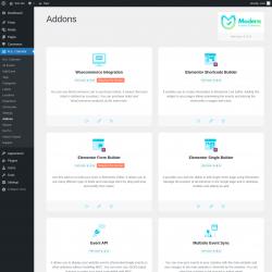 Page screenshot: M.E. Calendar → Addons