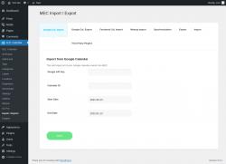 Page screenshot: M.E. Calendar → Import / Export