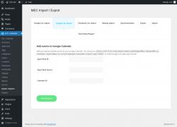 Page screenshot: M.E. Calendar → Import / Export → Google Cal. Export