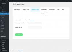 Page screenshot: M.E. Calendar → Import / Export → Facebook Cal. Import