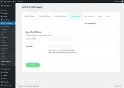 Page screenshot: M.E. Calendar → Import / Export → Meetup Import