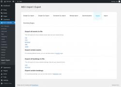 Page screenshot: M.E. Calendar → Import / Export → Export