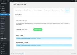 Page screenshot: M.E. Calendar → Import / Export → Import