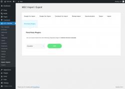 Page screenshot: M.E. Calendar → Import / Export → Third Party Plugins