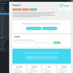 Page screenshot: M.E. Calendar → Support