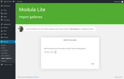 Page screenshot: Modula → Import galleries