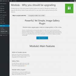Page screenshot: Modula → Upgrade to PRO