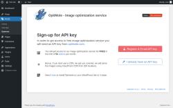 Page screenshot: Optimole ‹ Test site — WordPress