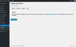 Page screenshot: Pagelayer → Support