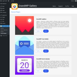 Page screenshot: GrandWP Gallery → Featured plugins