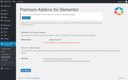 Page screenshot: Premium Addons for Elementor → Version Control