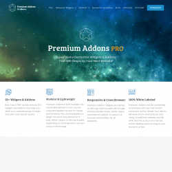 Page screenshot: Premium Addons for Elementor →  Get PRO Widgets & Addons