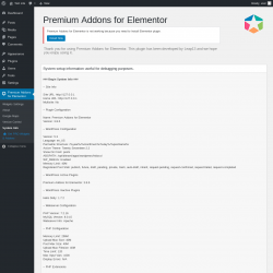 Page screenshot: Premium Addons for Elementor → System Info