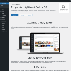 Page screenshot: Welcome to Responsive Lightbox & Gallery ‹ Test site — WordPress