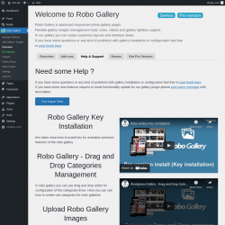 Page screenshot: Robo Gallery → Overview →                      Help & Support