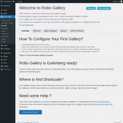 Page screenshot: Robo Gallery Overview ‹ Test site — WordPress