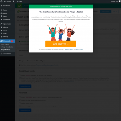 Page screenshot: Shareaholic  → Plugin Settings
