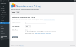 Page screenshot: Settings → Simple Comment Editing