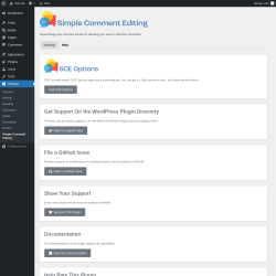 Page screenshot: Settings → Simple Comment Editing → Help