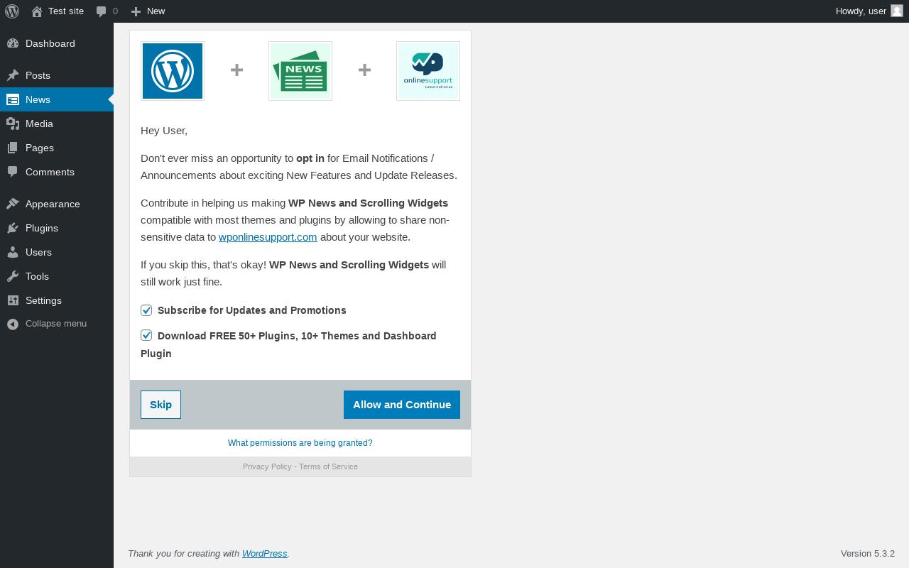 Report - WP News and Scrolling Widgets 4 2 - PluginTests com