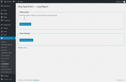 Page screenshot: Stop Spammers → Log Report