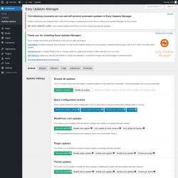 Page screenshot: Dashboard → Updates options