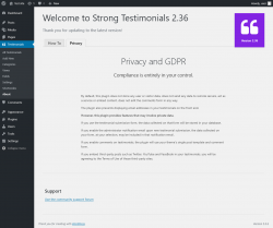Page screenshot: Testimonials  → About → Privacy