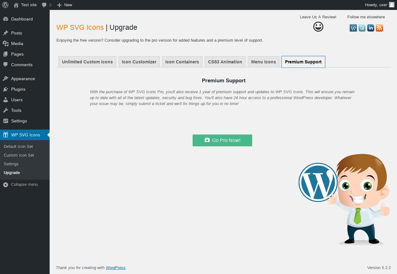 Report - WP SVG Icons 3 2 1 - PluginTests com