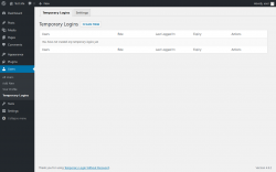 Page screenshot: Users → Temporary Logins