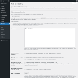 Page screenshot: Settings → Text Hover