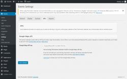 Page screenshot: Events → Settings → APIs