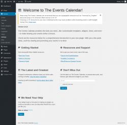 Page screenshot: Events Settings ‹ Test site — WordPress