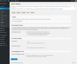 Page screenshot: Events → Settings → Imports