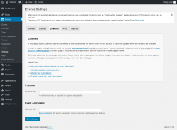 Page screenshot: Events → Settings → Licenses