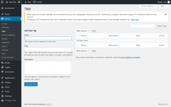 Page screenshot: Events → Tags
