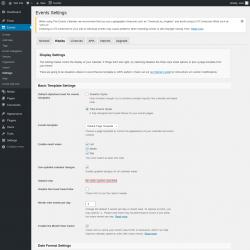 Page screenshot: Events → Settings → Display
