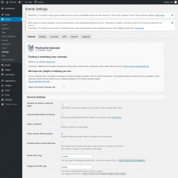 Page screenshot: Events → Settings
