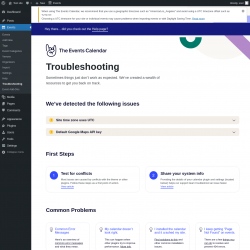 Page screenshot: Events → Troubleshooting