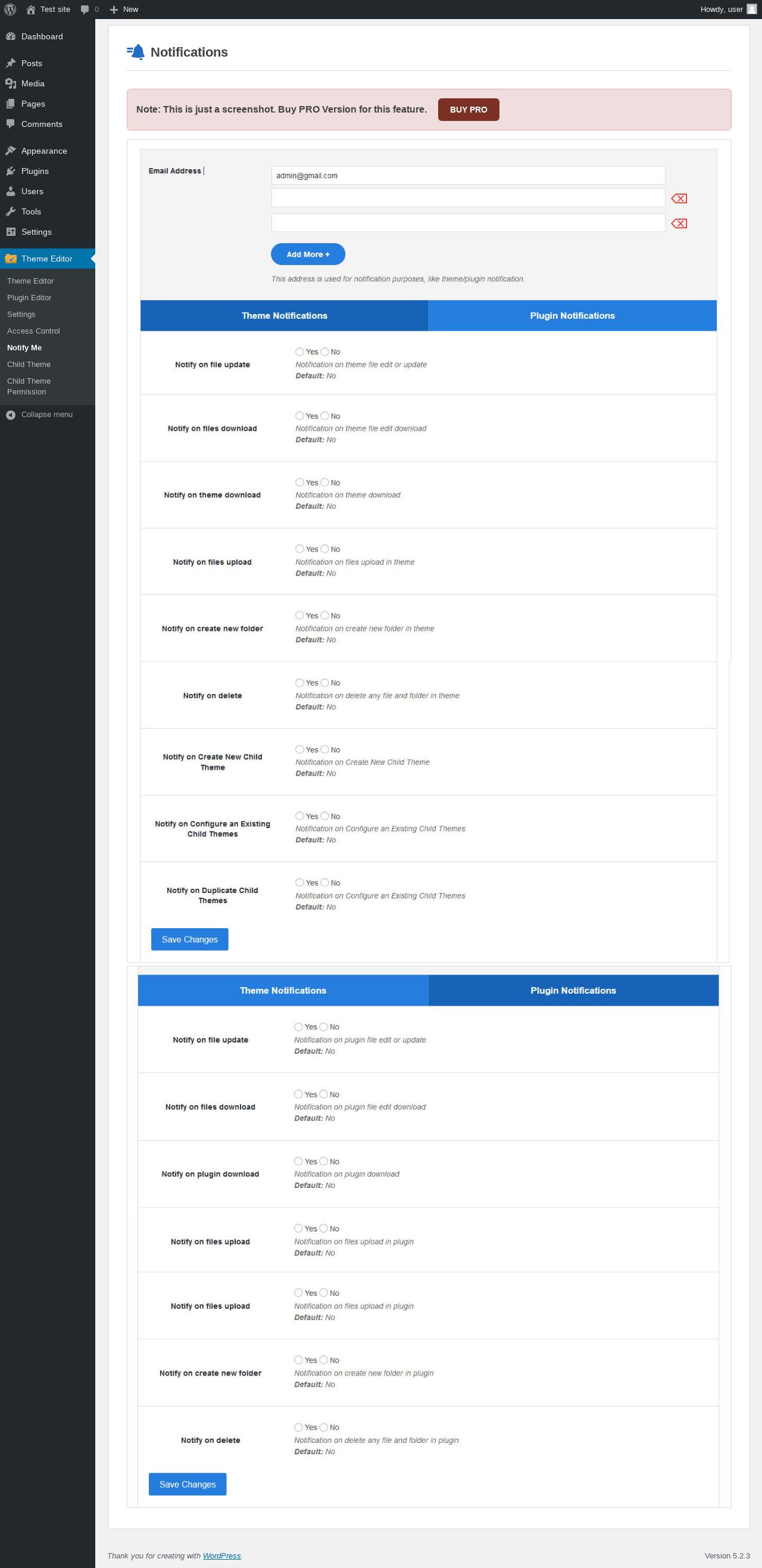 Report - Theme Editor 2 1 - PluginTests com