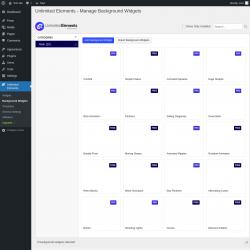Page screenshot: Unlimited Elements → Background Widgets